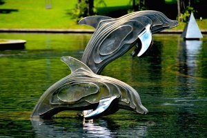 animals, sculpture, aquatic, architecture, dolphins, fish, garden