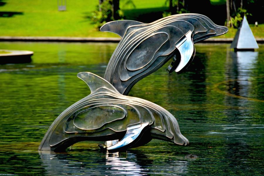 animals, sculpture, aquatic, architecture, dolphins, fish, garden