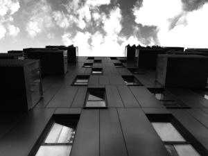 Gebäude, wolken, wohnung, architektur, balkon, fenster