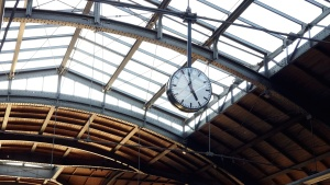 roof, clock, steel, time, urban, architecture, ceiling, glass