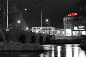 hotel, night, river, sign, street, water, architecture, bridge, buildings