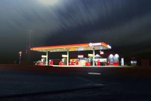 road, store, transportation, gas station, highway, light