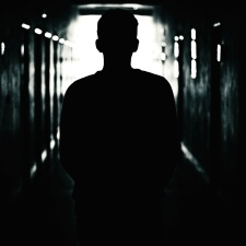 man, silhouette, backlit, dark, indoors, light