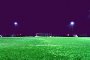 soccer, field, spotlight, stadium, lawn, lights, night, football, goal, grass
