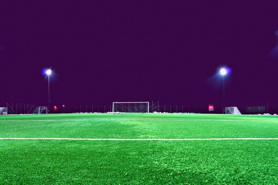 fotball, feltet, spotlight, stadion, plen, lys, natt, fotball, mål, gress