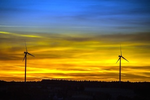 Sun, wind, turbine, windmill, cloud, silhouette