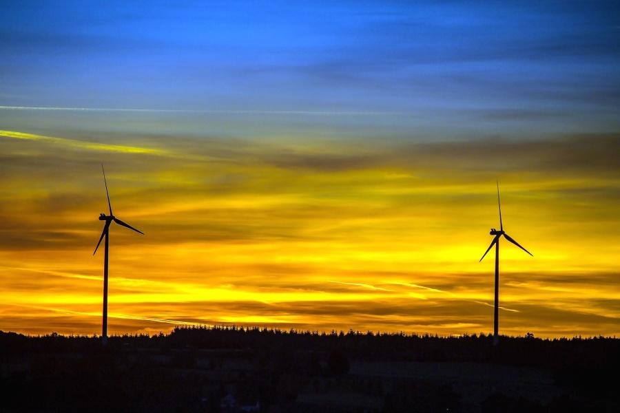Sun, wind, turbine, windmill, cloud, silhouette