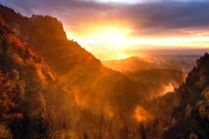 Sun, wood, cloud, landscape, hills, dusk, sky