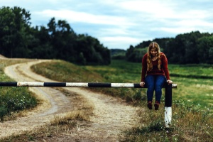 trees, woman, young girl, fashion, field, girl, grass, road