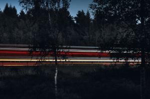 Paisaje, luz, noche, árboles, transporte, bosque, carretera