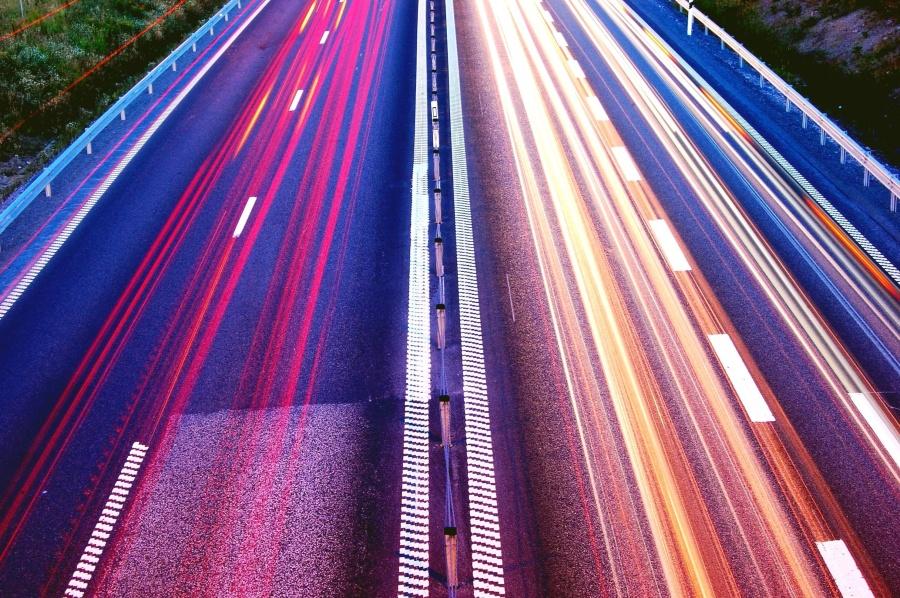 reise, asfalt, bil, motorveien, hastighet, lys