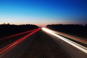 asphalt, sky, city, expressway, fast, forest, traffic, transportation