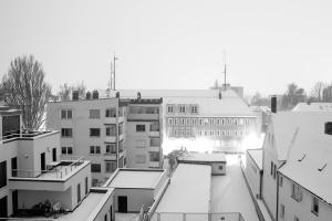 Tetto, neve, strada, città, urbano, inverno, architettura, edifici