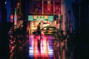 kerékpár, épület, autó, város, este, fény, neon, éjszaka, esernyő, városi