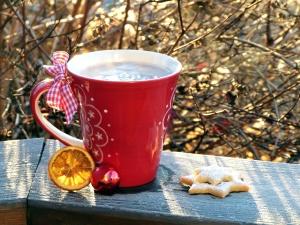 lemon, milk, mug, star, sweet, tea, biscuit, branches, break, breakfast, chocolate