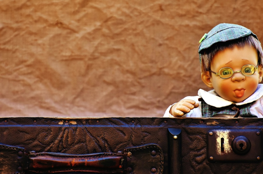 toy, suitcase, antique, baby, doll, leather, luggage