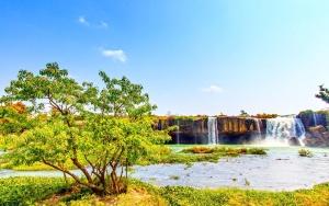 водопад, река, трева, пейзаж, природа, дърво, вода