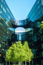 Reflexión, sombra, cielo, árbol, arquitectura, edificio, fachada, vidrio