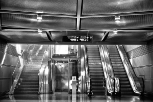 ceiling, elevator, escalator, reflection, stair, subway