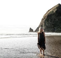 vacation, water, waves, woman, sand, sea, seashore, summer, travel