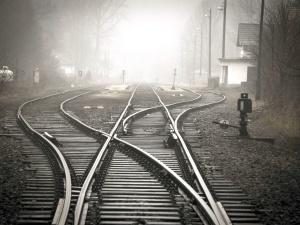 trein station, bestemming, mist, begeleiding, ijzer, spoor, weg