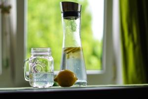üveg, gyümölcslé, citrom, folyadék, ital, fókusz