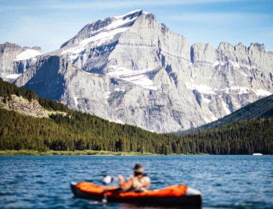 pine trees, recreation, boat, canoe, river, sky, snow, travel, trees, water
