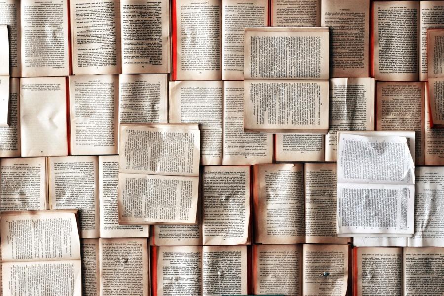 stos, książek, stare, papier