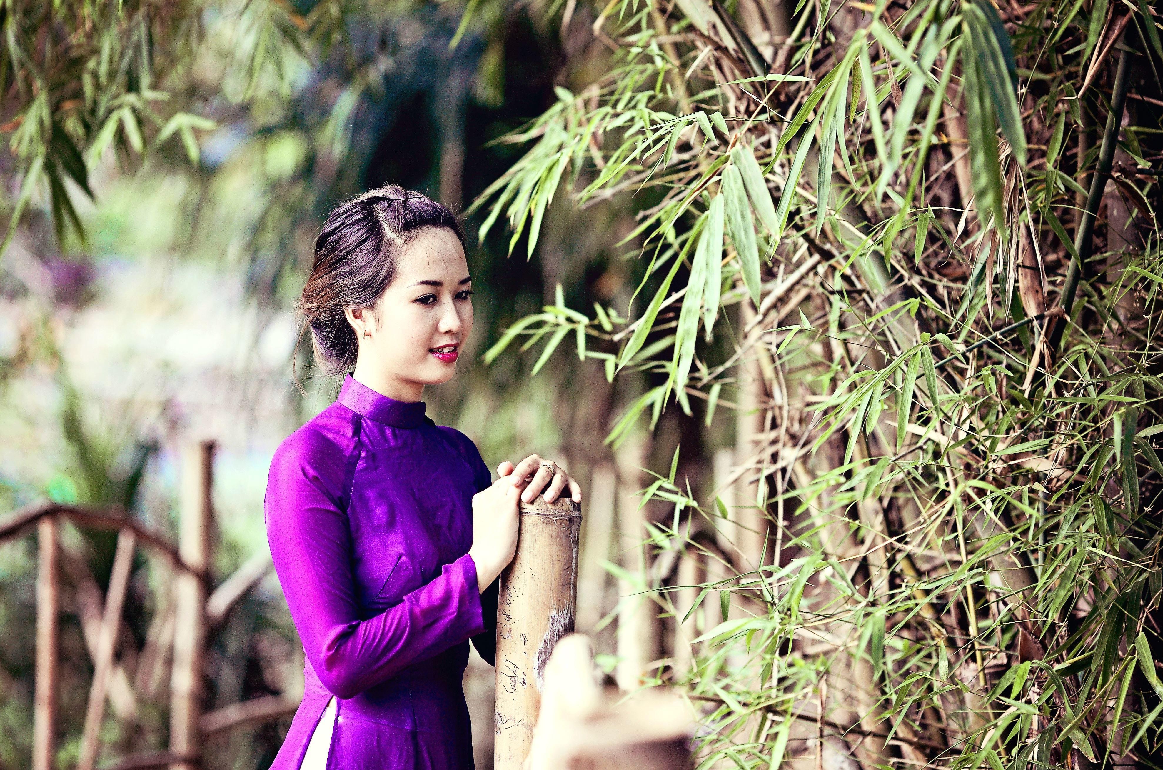 Free Picture Fashion Pretty Girl Asian Bamboo Beautiful Costume Dress