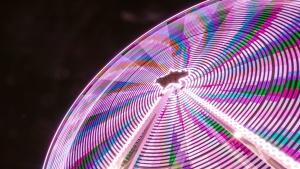 Coloré, créativité, résumé, amusement, nuit, motif, arc en ciel, manèges