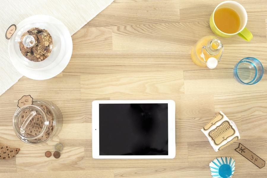 hordozható számítógép, tea, technika, fa, ital, üveg, érmék, cookie, jar