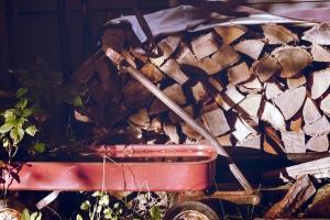gras, wagen, container, brandhout, gras