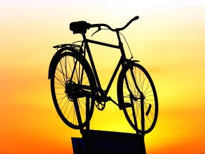 silhouette, sky, sunrise, bicycle