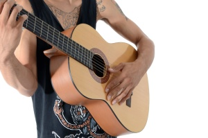 tattoo, fashion, guitar, hands, instrument, man, musician, person