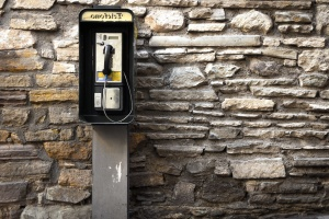 telefone, telefone, parede, pedra, monofone