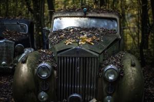 Auto, classico, fari, ruggine, vecchio, veicolo, abbandonato, antico