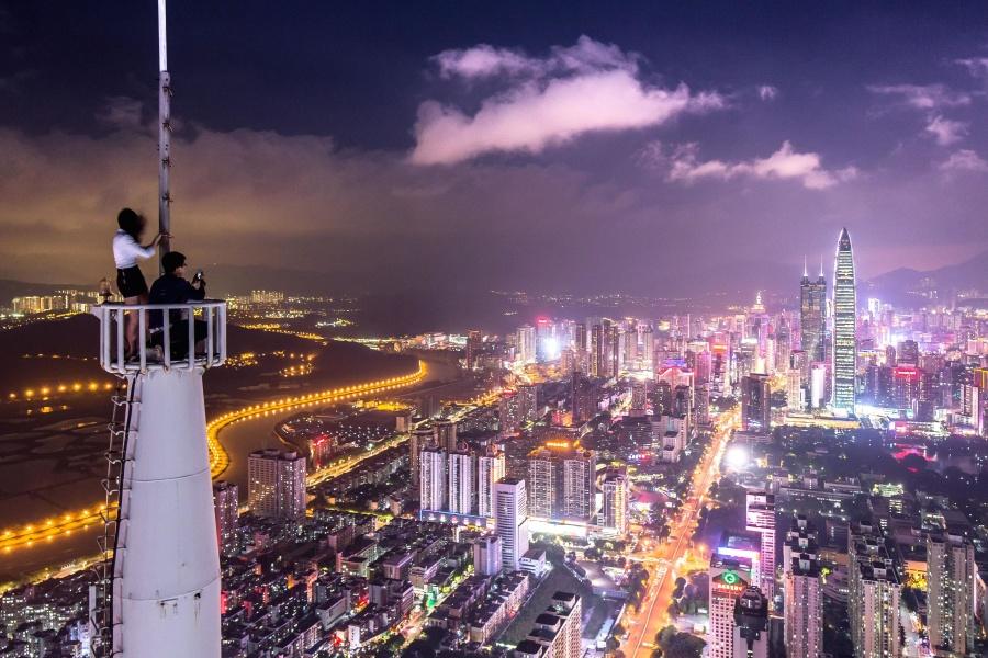 Torre, centro, urbano, architettura, costruzione, città, nuvola