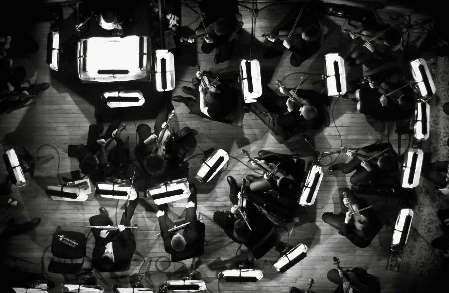 Skupina, hudba, hudebníci, lidé, dav