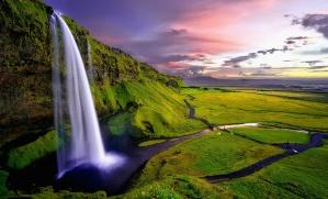 небе, вода, водопади, трева, пейзаж, планина, природа, река