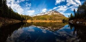 나무, 물, 숲, 구름, 환경, 호수, 풍경, 산, 자연