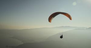 paragliding, sport, water, adventure, beach, fog, lake