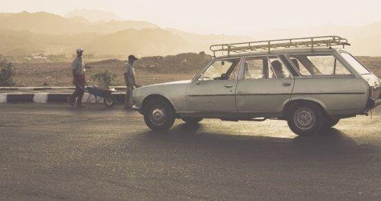 car, classic, dessert, driver, Sun, fog