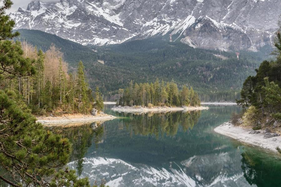 δέντρα, κοιλάδα, νερό, ξύλο, αειθαλής, δάσος, λίμνη