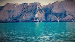 Bay, ranta, rauhallinen saari, cliff, sun, aamu, maisema