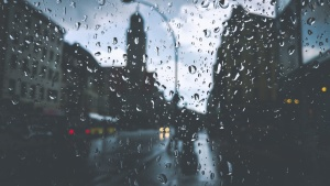 rain, water drops, glass, lamppost, window