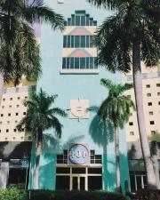 building, facade, palm trees