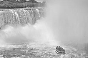 кораб, вода, водопад, мъгла