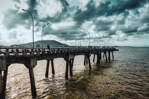 ocean, water, beach, bridge, clouds, dock