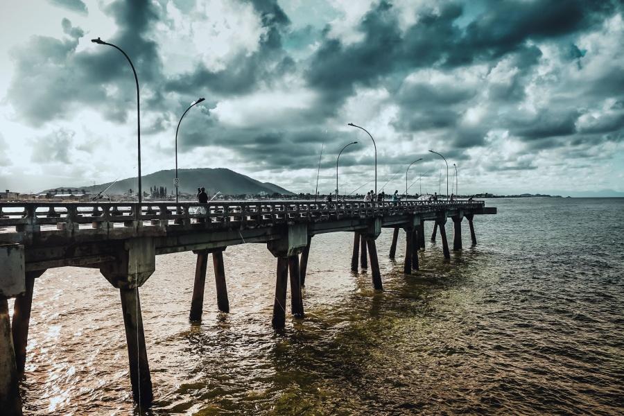 laut, air, pantai, jembatan, awan, dermaga