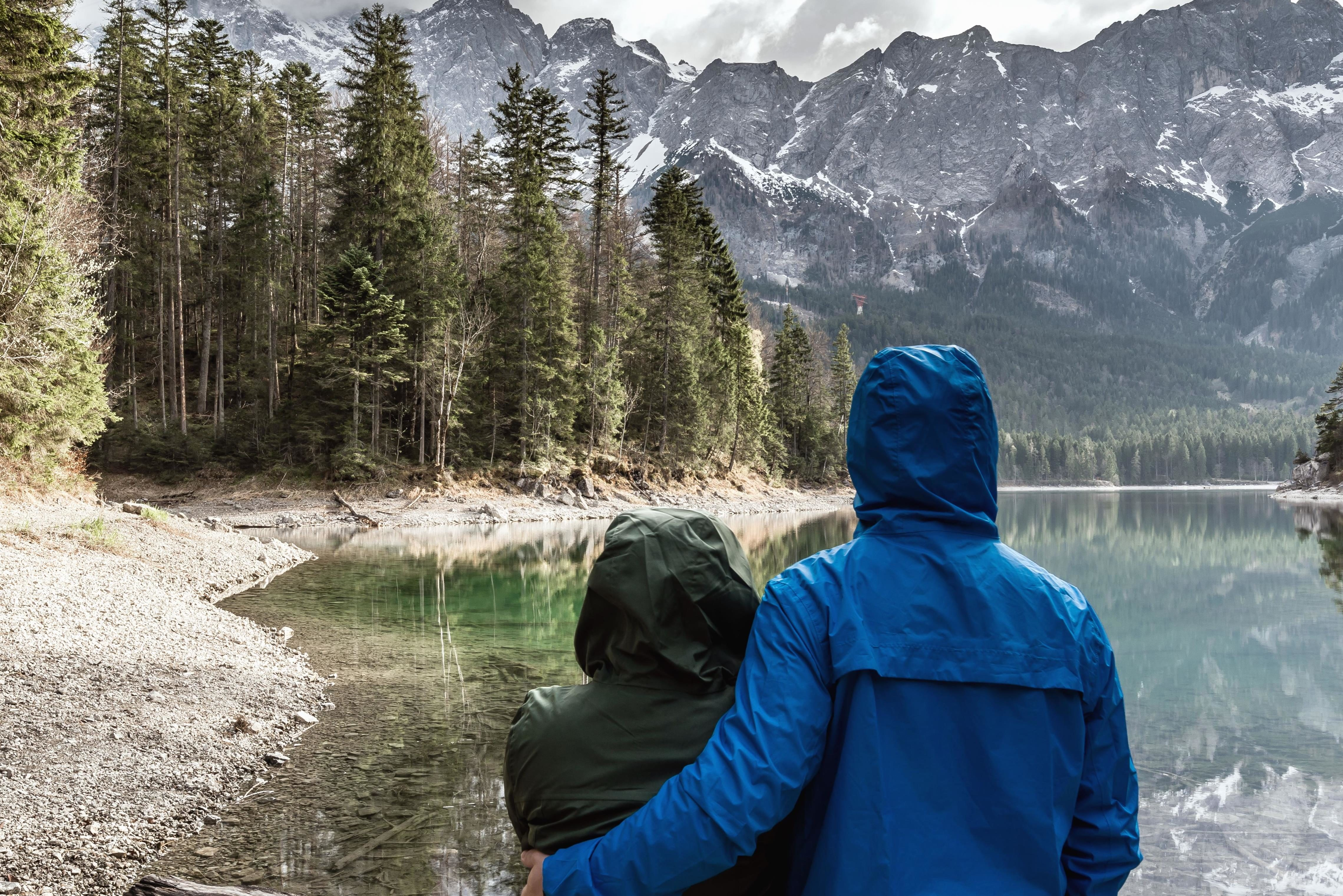 Free Picture Landscape Love Mountain Hug Man Woman